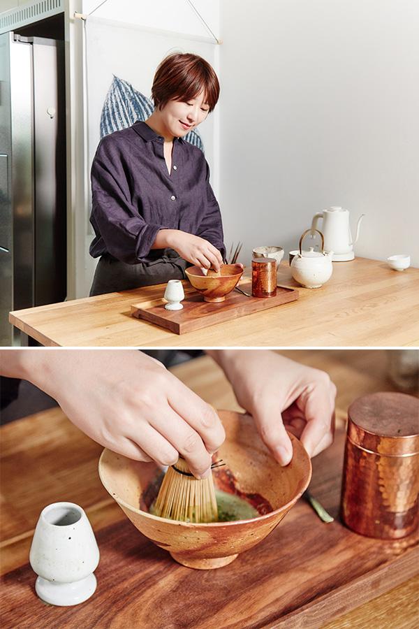 말차가루는 맛차차(@matchacha_seoul) 숙우는 에리어플러스(@areaplus) 주전자와 사발은 정소영의 식기장(@sikijang_wannmul)